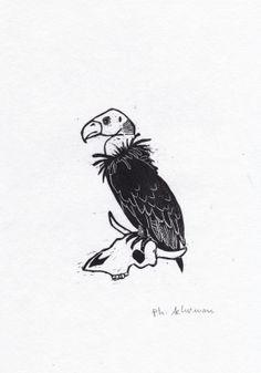"""Série """"Grand Nord""""- Le vautour  Philippe Achermann Gravure sur bois Street Art, Art Graphique, Artwork, Moose Art, Animals, Contemporary Photography, Old Photography, Vulture, Woodcut Art"""