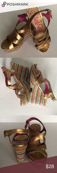 """Gold Strappy  Wedge Sandals by Skechers Sz 7 Super cute and sexy and so versatile with the multicolored jute rope espadrilles style 4"""" wedge with 1.5"""" platform. The straps are gold. The wedge is fuchsia pink, orange, turquoise / teal and purple and shiny gold woven pattern. These look almost  brand new --- They are phenomenal with anything!! Skechers Shoes Wedges"""