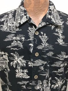OP Sport L Hawaiian Black Short-Sleeve Cotton Shirt Tropical House Rocking Chair #OPSport #Hawaiian