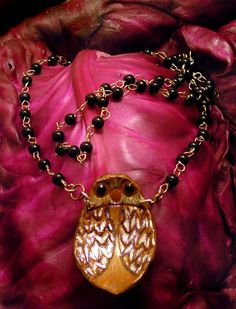 Handmade Leather Owl Necklace with glass beads!