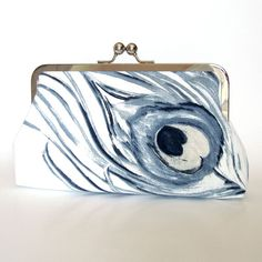 Kisslock Frame Clutch Silk Lined Watercolor by FoxburyAndCo, $66.00