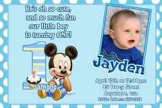 Mickey Mouse 1st Birthday Invitations (Baby Mickey Mouse 1st Birthday) with cupcake topper. $20.00, via Etsy.