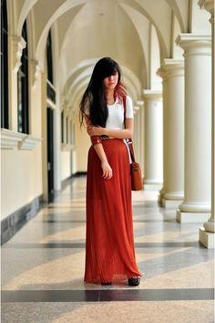 Burnt Orange Vintage Bag +  burgundy long Skirt +  Jeffrey Campbell Heels via www.chictopia.com