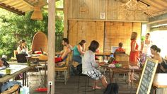 Digital nomads at work at Hubud, the co-working space in Ubud, Bali, which is completely made out of bamboo.