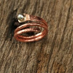 Copper and silver ring, hammered for texture, handmade by MarthasManyThings etsy    I LOVE THIS!