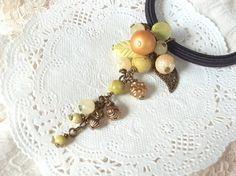 天然石イエローターコイズのミモザ風ヘアゴム Creema Handmade Claft Ponytail holder Hair Elastic Accessory Natural Stone ハンドメイド アクセサリー