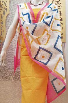 Elegant Chanderi Dupatta with Block Print & Embroidery