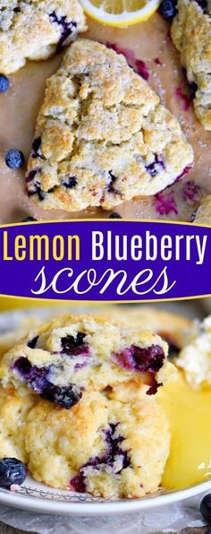 This Lemon Blueberry Scones recipe is a delightful addition to any breakfast or brunch! Fresh blueberries and loads of lemon zest add an irresistible freshness to these easy to make scones. Serve with lemon curd and cream for an afternoon tea experience e Breakfast And Brunch, Breakfast Dishes, Breakfast Scones, Brunch Cake, Brunch Menu, Breakfast Casserole, Baking Recipes, Dessert Recipes, Scone Recipes