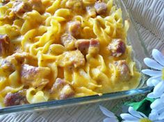 This is a Ham n noodle bake, but I used left over pork tenderloin pieces and cream of mushroom soup and it is so good!
