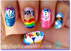 gay pride nails. redo with 2 suits 2 wedding dresses?
