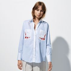 FWSS x Irina Lakicevic FWSS Funky Cold Medina Embroidery is a classic, crisp menswear inspired cotton shirt with delicately embroidered pocket details. Contrasting button stand and collar in white. Fall Winter Spring Summer, Shirt Embroidery, Menswear, Coat, Jackets, Shirts, Crisp, Shopping, Clothes