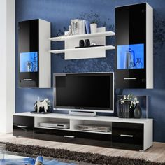 Toledo entertainment center with multicolor led system and remote control/modern design wall unit for contemporary homes (black and white). Modern Tv Units, Living Room Tv, Tv Stand Designs, Entertainment Center, Entertainment Center Wall Unit, Modern Room, Affordable Living Rooms, Tv Showcase Design, Tv Stand Modern Design