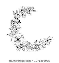 Hand drawn flowers and leaves line art. Freehand sketching plants illustration black and white background for greeting card Hand drawn flowers and leaves line art. Freehand sketching plants illustration black and white background for greeting card Black And White Sketches, Black And White Flowers, Black And White Background, Black And White Art Drawing, Floral Embroidery Patterns, Embroidery Art, Hand Drawn Flowers, Draw Flowers, Tattoo Style