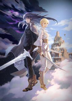 ArtStation - Children of the Rune -Winterer- e-book cover illustration, Sang Ah Yoon Anime Couples, Cute Couples, Character Concept, Concept Art, Anime Krieger, Warrior Girl, Drawing Base, Celestial, Fantasy Artwork