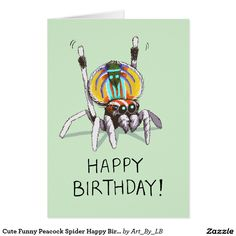 I love Australian wildlife and the Peacock Spider is one of my favourites. Look at this little guy, he's always ready to party! A great card for anyone with an interest in bugs, Australia, arachnids, and rare and unusual species.