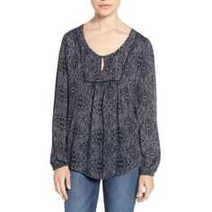 Women's Velvet By Graham & Spencer Batik Print Peasant Top ($128) ❤ liked on Polyvore featuring tops, blouses, navy, boho tops, boho blouse, embroidered peasant top, peasant tops and long sleeve blouse