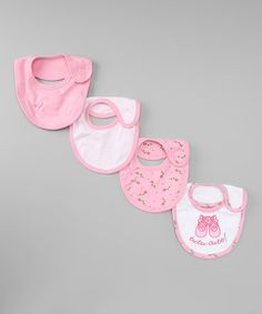 Take a look at this Pink & White Bib Set by Mon Cheri Baby on #zulily today!