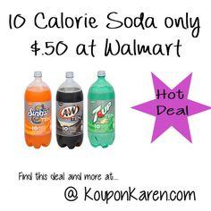 Ten Calorie Sodas only $0.50 at Walmart | http://www.kouponkaren.com/2014/08/ten-calorie-sodas-0-50-walmart/