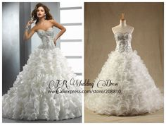 Luxury Ruffled Organza Sweetheart Strapless Chapel Train Ball Gown Wedding Dresses Bridal Gown Free Shipping $226.00