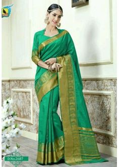 Casual Wear Green Jacquard Tussar Silk Saree  - 2687