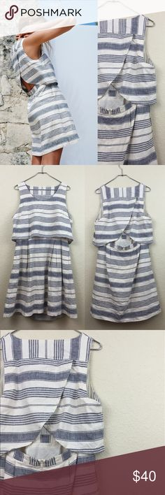"""Madewell overlay dress • Madewell  • Striped dress • Size 12 • no damages • Worn once • $160 • Linen blend • lined • Pit to pit measures 20"""" across • Total length 37"""" Madewell Dresses"""
