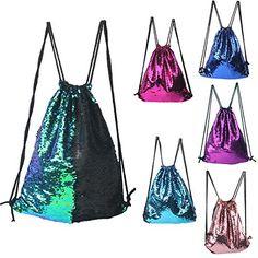 Mermaid Drawstring Bag Magic Reversible Sequin Backpack Glittering Dance School Bag for Yoga Outdoors SportsWomen's Day Gift for Girls Women Kids