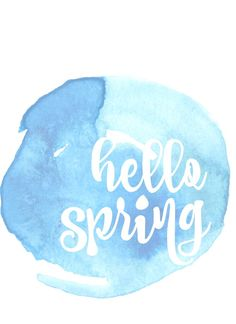 hello spring free printable in blue at thehappyhousie.com mask anything, add watercolor.