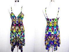 Summer Sale: tribal peacock print drop waist dress (small), Aztec / African inspired low waist dress by VintageHomage