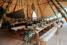 Foliage, Faux Fur And Feather Decor For A Boho Tipi Wedding // Image By Rosie Kelly Photography wedding marquee Boho Tipi Wedding With Bride In Hollie Dress By Grace Loves Lace Lilac Wedding, Tipi Wedding, Marquee Wedding, Farm Wedding, Wedding Tips, Wedding Reception, Wedding Day, Wedding Trends, Wedding Tables