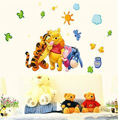 ufengke Cartoon Creative Pooh Bear and Little Partners Wall Decals Childrens Room Nursery Removable Wall Stickers Murals >>> Details can be found by clicking on the image.