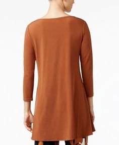Alfani Jersey High-Low Tunic, Only at Macy's - Tan/Beige XS