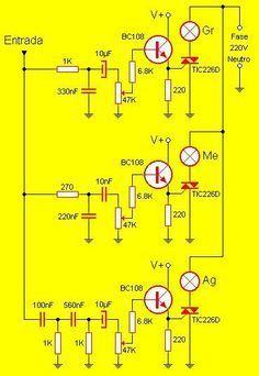 3 Kanal Rhythmic Audio Lights Electronicsaudio Jeu De Lumières A Trois Canal 3kanal Aud Electronics Circuit Electronic Schematics Electronics Projects