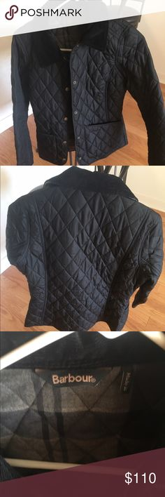 Women's Barbour Annandale jacket Never worn -(didn't fit right and I never returned it) size 8 . Barbour jacket bought from Bloomingdales. Quilted dark navy, plaid inside, collar is corduroy. Great for fall and spring. Retail is $170. Barbour Jackets & Coats