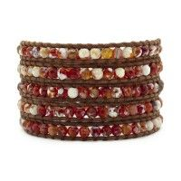 Red Fire Agate Wrap Bracelet on Natural Brown Leather