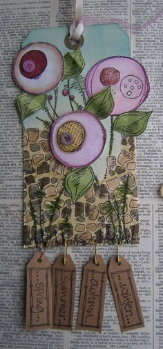 Jo Firth-Young have each student create a flower and then attach bible verses on the bottom? Atc Cards, Card Tags, Gift Tags, Decoupage, Paper Art, Paper Crafts, Zentangle, Artist Card, Artist Trading Cards