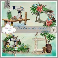 """Clusters du kit """"Souris d'eau Douce"""" de Tif Scrap"""