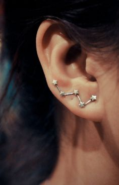 Cassiopeia sterling silver ear pins - Oh My God <3