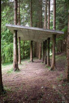 Karsten Födinger, Ohne Titel, 2013 reinforced concrete, 300 x 400 x 700 cm Inst. Nature Architecture, Architecture Design, Landscape Design, Garden Design, Jardin Decor, Shade Structure, Reinforced Concrete, Land Art, Installation Art
