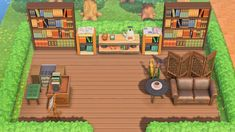 """""""you know you miss the bookstore when you make a tiny one for your villagers on a remote island in animal crossing 😔🤙🏽"""" Animal Crossing Cafe, Outdoor Gym, Outdoor Decor, Motif Acnl, Motifs Animal, Japanese Drawings, Path Ideas, Geek Crafts, Island Design"""