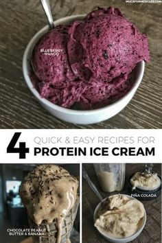 4 quick and easy recipes for protein ice cream. Recipes include strawberry, blueberry mango, chocolate peanut butter and banana, and piña colada. Protein Ice Cream, Keto Ice Cream, Healthy Ice Cream, Homemade Ice Cream, Ice Cream Recipes, Stevia Ice Cream, Simple Ice Cream Recipe, Helado Keto, Keto Eis
