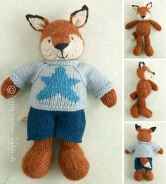 Knitting pattern for a boy fox with a star von Littlecottonrabbits, £3.85