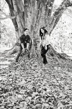 Fall engagement shoot with leaves. Love. Photography by Tamika Lee Photography /