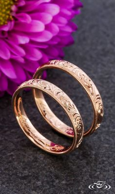 Rose Gold Hand Engraved Wedding Bands. Green Lake Jewelry