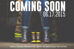 Baby firefighter announcement  Photo Credit:  Thierry Lyles Photography