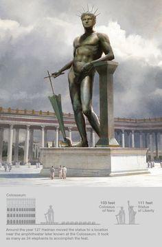 -----O Coloso de Nerón----- Ó principio a estatua representaba ó emperador Nerón e decoraba a súa casa. Cando morreu o seu sucesor Vespasiano transformouna na do deus do sol cambiándolle a cabeza. Anos máis tarde o emperador Hadriano decidiu trasladala para construir nese lugar o templo de Venus e Roma (ó fondo á dereita) e mandouna levar á praza do Coliseo onde lle colocou unha base de 15 m. de alto. O conxunto elevábase ata case 50 m, a altura do Coliseo.