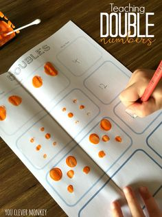 Teaching Double Numbers - using our free printable mats to help teach young children double numbers, one of the Natural Maths Secret Code, plus two other teaching ideas for the Early Years classroom you clever monkey Year 1 Classroom, Year 1 Maths, Early Years Maths, Early Years Classroom, Early Math, Eyfs Classroom, Early Years Teaching, Help Teaching, Teaching Math