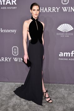 Model Hilary Rhoda attends the 19th Annual amfAR New York Gala at Cipriani Wall Street on February 8, 2017 in New York City.
