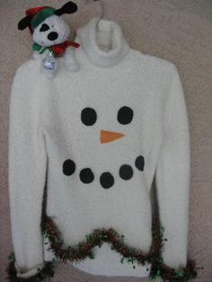 c3b95326102 HANDMADE Ugly Tacky Funny Christmas Sweater -Women Small - Don t Eat the  SNOW