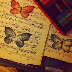 Saturday night red wine sheet music and watercolour butterflies. #butterfly #butterflies #watercolour #watercolor #painting #sheetmusic #sheetmusicart# #madebyhand #shopindependent #etsyshopowner #shopetsy #shopsmall #etsy #shophandmade #shopsmallbusiness #supporthandmade #buyhandmade by craftylittlesewandsew