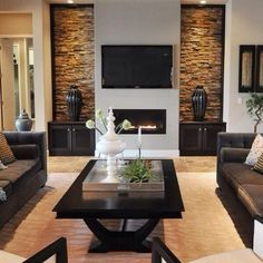 brown brick wallpaper in living room - Google Search